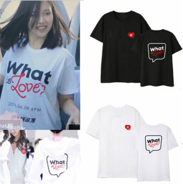 2627aec7b New KPOP Twice What is Love T-shirt T shirt 2018 Tee Tops MOMO Mina Lim Na  Yeon Girls Shirts Top Tee