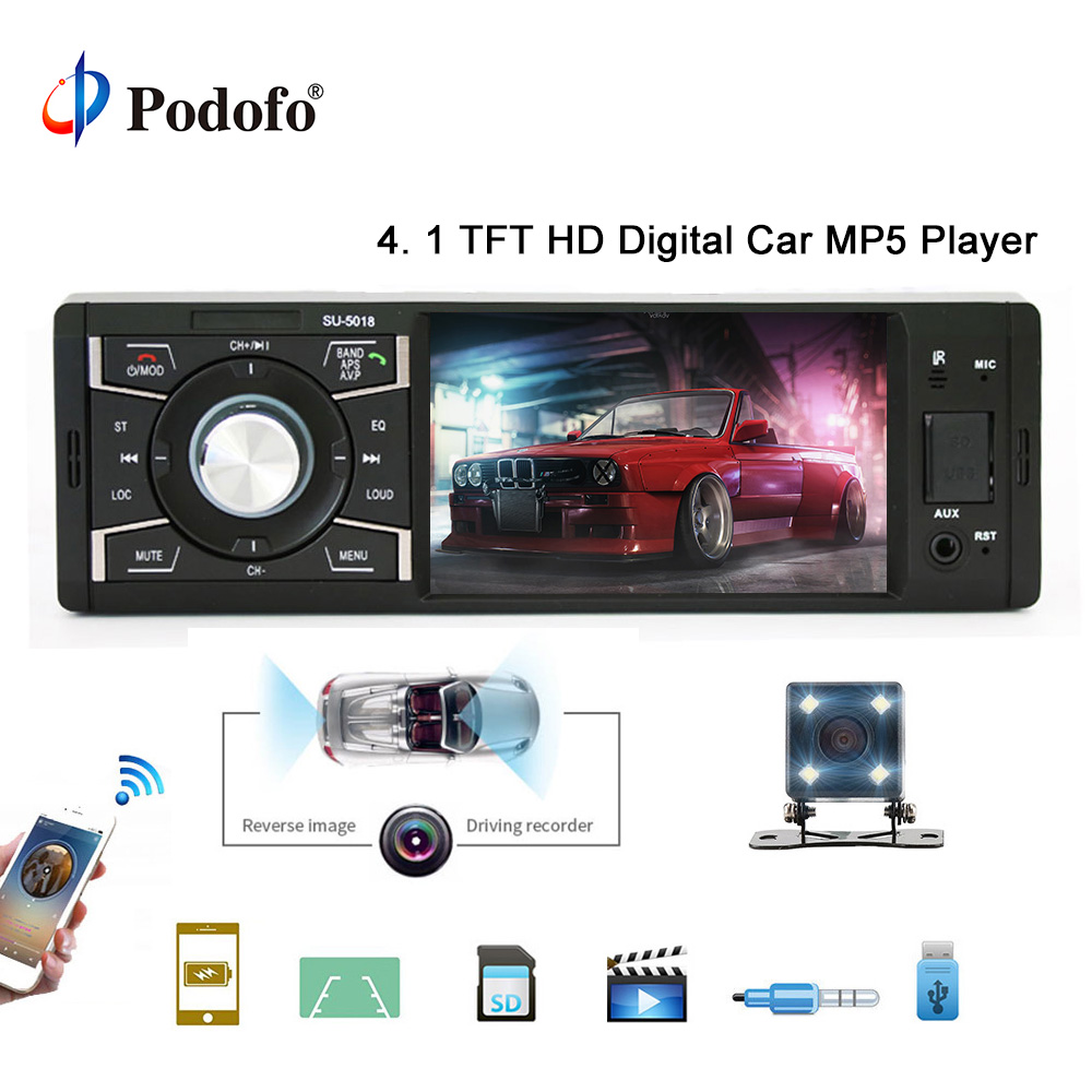 Podofo autoradio 4 1 din Car Radio Audio Stereo Multimedia MP5 Player Bluetooth FM Receiver USB AUX-IN SD Support Backup CameraPodofo autoradio 4 1 din Car Radio Audio Stereo Multimedia MP5 Player Bluetooth FM Receiver USB AUX-IN SD Support Backup Camera