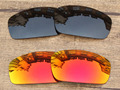 Black & Fire Red 2 Pairs Polarized Replacement Lenses For Monster Pup Sunglasses Frame 100% UVA & UVB Protection
