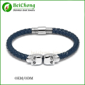 Free Shipping 316l Stainless Steel Bangle Genuine Leather  North Skull Bracelet for Men and Women Northskull Pulsera BC-0016