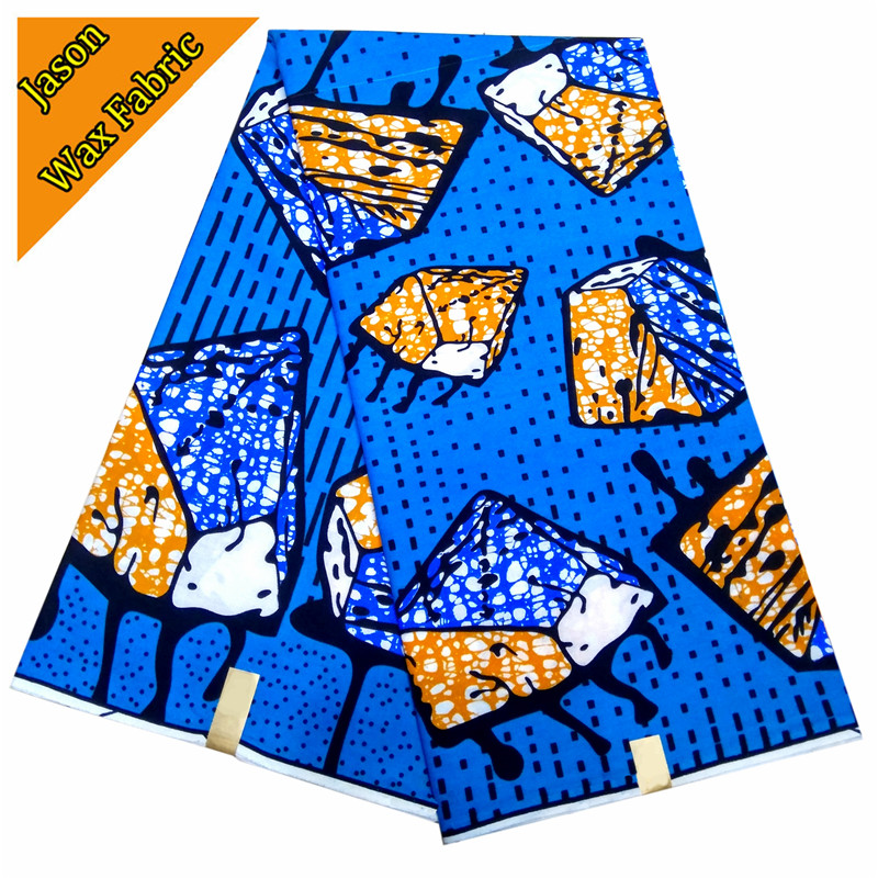 Blue mix yellow color / 2018 Ankara style African wax block prints fabric real wax prints fabric for sewing dress LBL