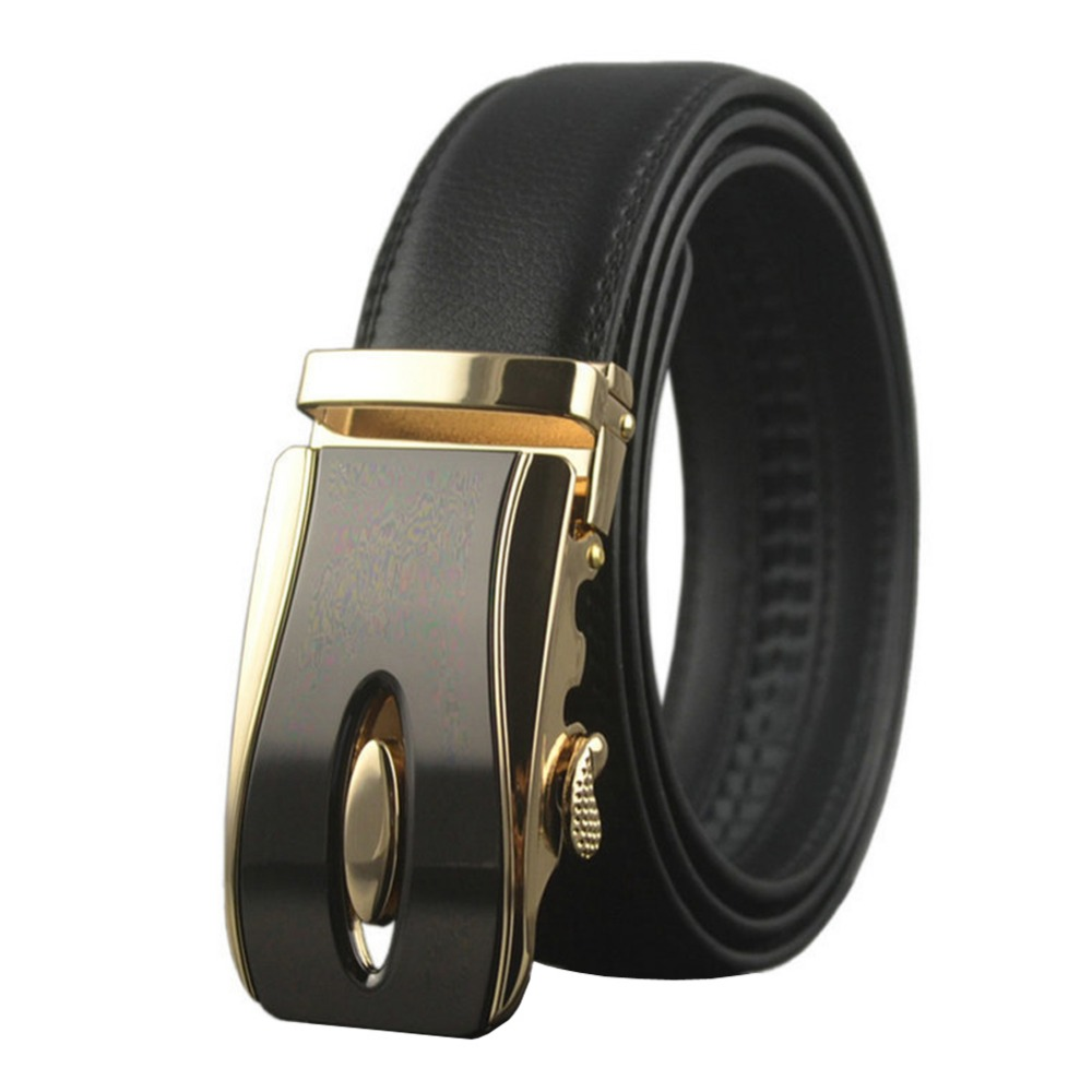 Black Brown 38-54 Mens Genuine Leather Ratchet Belts with Gold Automatic Buckle Big and Tall Waist Belt For Jeans High Quality