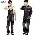 Ccgk jardineira homens macacões de trabalho reparador de proteção cinta jumpsuits calças uniformes de trabalho plus size sem mangas macacão