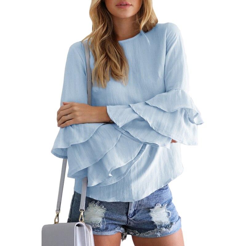 Hitmebox 2018 New Women Fashion chiffon blouse Sexy flare sleeve summer blouse Elegant beach party blusas