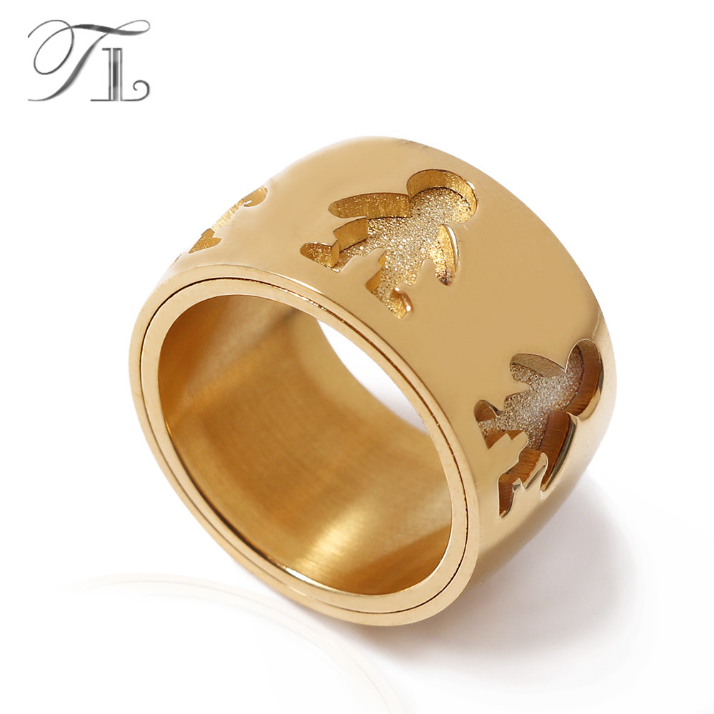 TL Stainless Steel Ring For Men Wide & Thick High Quality Matte Little Boy Pattern Finger Rings for Love Jewelry Birthday Gift