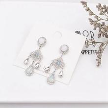 Women Retro Earrings Korean Long Crystal Pendant Jewelry Hollow Flower Drops Tassel Female