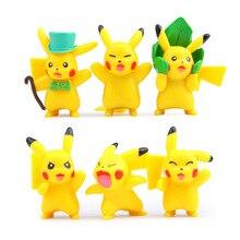 6pcs/set 3-4cm Pokeball Figures Cute Mini Pikachu Figures Monster Model Toys Collection Anime Kids Toy