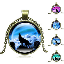 XUSHUI XJ howling wolf with moon necklace art Glass Cabachon Pendant Vintage Jewelry Antique bronze alloy Chain Necklace Women