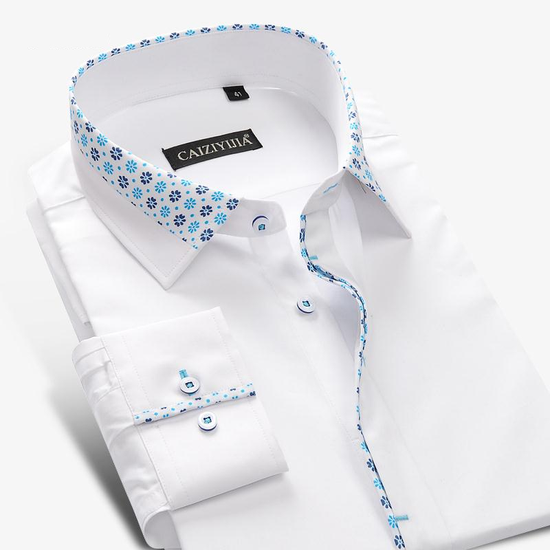 Buy brand men floral white shirt men Buy white dress shirt