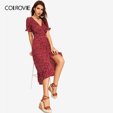 COLROVIE Burgundy V Neck Floral Print Tie Back Surplice Wrap Holiday Women Dress 2019 Summer Ruffle Hem High Waist Boho Dresses surplice high waist knit dress