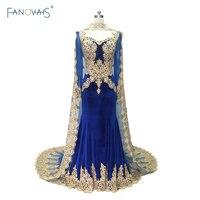 Vintage רויאל בלו שמלות ערב שמלות שרוול ארוך בת ים נשף עם קטיפה גלימת זהב Applique חרוזים דובאי IDE2