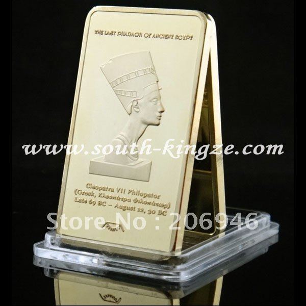 New Arrivals free shipping Wholesale 20Pcs/Lot Gold Plated Ancient Egypt Pharaoh Cleopatra VII Bullion bar top selling 2012
