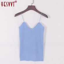 YESVVT 2017 New knitted Tank Tops Women Camisole Vest simple Stretchable Ladies V Neck Slim Sexy Strappy Camis Tops