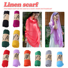 New Linen Scarves Women Solid Color Scarf Shawl Luxury Hijab Muffler Female Soft Wraps Headband