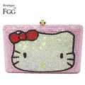 Pink Hello Kitty Crystal Diamond Women Evening Cocktail Party Handbags Clutch Bag Hard Case Metal Clutches Shoulder Chain Purses