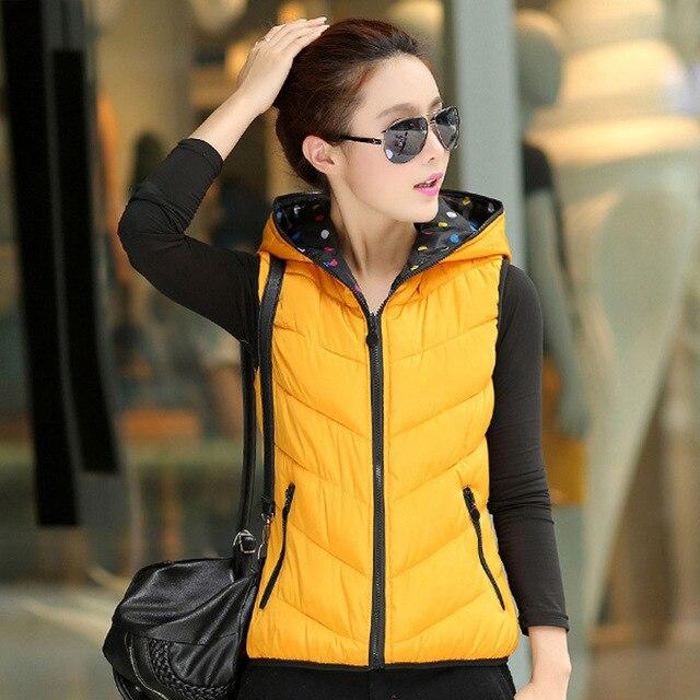 Новая зимняя вниз хлопка жилет Корейских женщин короткие двусторонняя износ тепловых с капюшоном жилет женский жилет