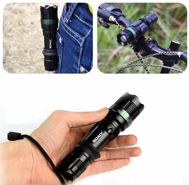 Cree Xml T6 Tactical Flashlight Strong Lumen Pocket Light Zoom Adjustable Focus Led Torch Lantern Hunting Hiking Police Lamp