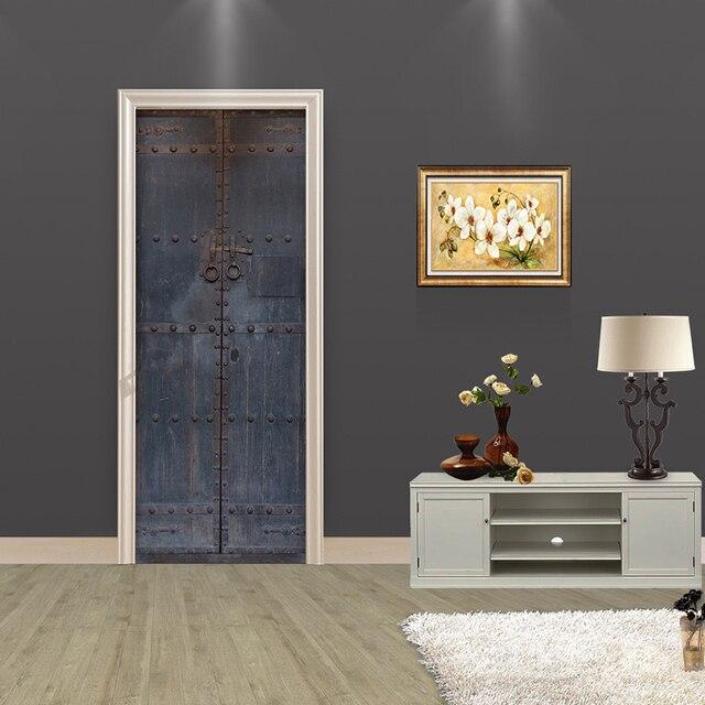 creatieve diy 3d deur stickers oude houten deur patroon interieur woonkamer grote muursticker woondecoratie accessoires