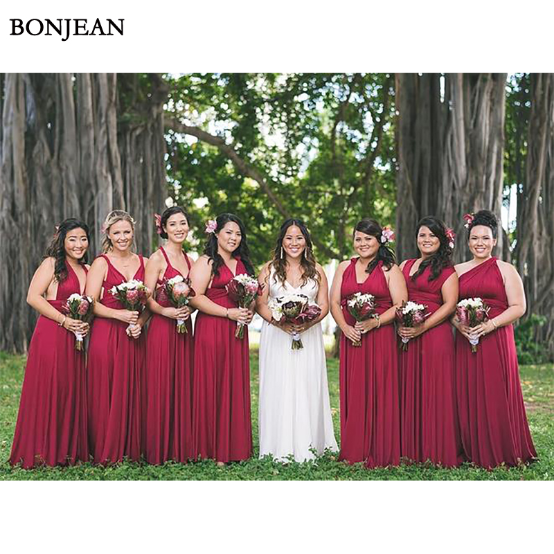 Red A-Line  Bridesmaid Dress Chiffion Mismatched Formal Dress Sleeveless Long Bridesmaid Dresses Plus Size Custom Made