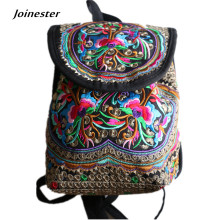 Canvas women ethnic style vintage backpack girls' flower embroidered fashion bag for saunter