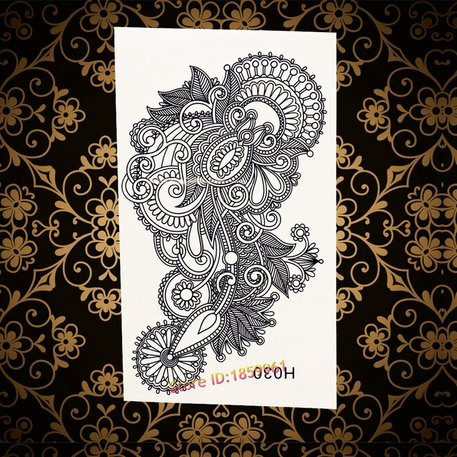 Waterproof Temporary Tattoo Sticker Black Flower Mandala Tattoo Fake Arabic Tattoo Women Henna Flash Mehndi Tattoo For Girl