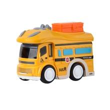 3PCS Toddler Cartoon Inertial School Bus Model Q Version Fun Car Childrens Puzzle Cars Toys Educational For Children