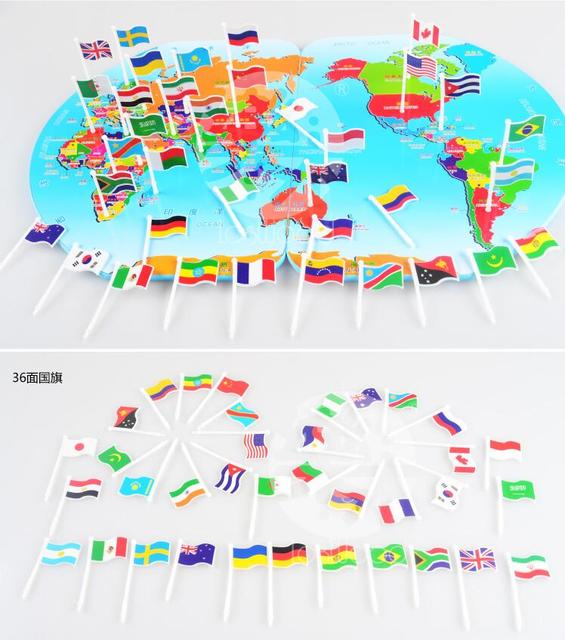 Map Of World Flags.Candice Guo Wooden Toy Plastic Flag Map World Knowledge Country