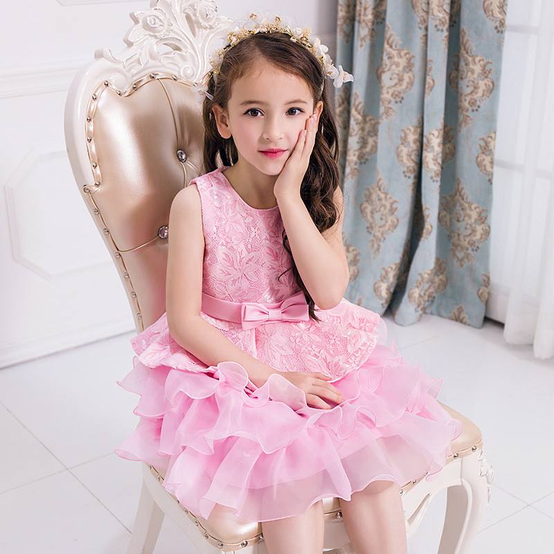 New Floral Bow Tie Girls Dresses Wedding Party Dance Vestido Clothes Floral Princess Kids Vestidos Birthday Dress Child 12 Years 2017 new infant kids girls child a line dress sleeveless floral printed kid princess party dance evening vestido 1 5y s2