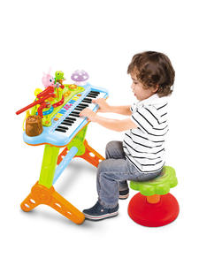 Organ Musical-Toy Teaching Kids HOLA Electronic-Keyboard with Microphone-Stool Light-Up-Keys