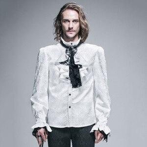 Image 4 - الشيطان موضة القوطية الساطع الرجال التعادل قميص Steampunk أسود أبيض رائع نمط طويل الأكمام قمصان الذكور بلوزة غير رسمية بلايز