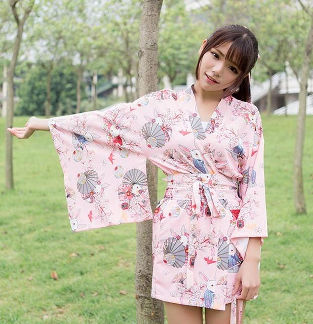 Kawaii Japanese Yukata Kimono Cute Women Onegai Usagi Praying Rabbit Matsuri Blossom Bunny Coat  Jacket Summer Costume
