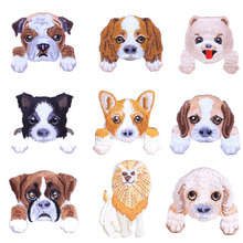 1 pcs cute dog cat embroidered patches for clothes kids backpack decor small clothing applications cartoon Tiger stripes