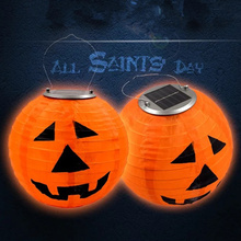 New LED Portable Solar Halloween Pumpkin Light Charging Outdoor Waterproof Lantern Lighting Hanging