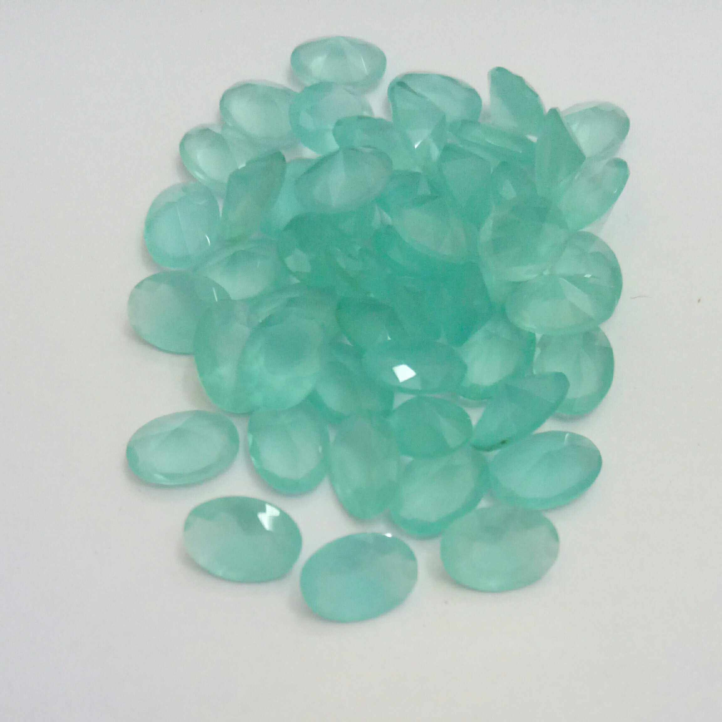 80pcs Oval 3*5mm-13*18mm Sea Green Color Glass Gems Glass Beads Glass Stone Synthetic Glass