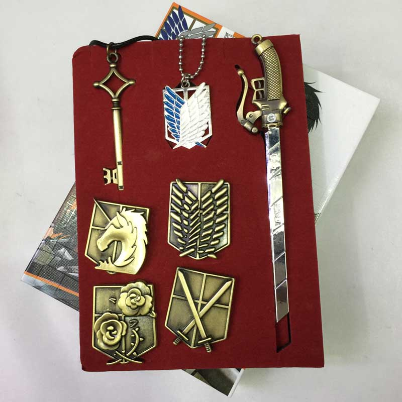 Brand New In Box Attack on Titan Badge Necklace /& Key Chain /& Pin Set Of 6pcs