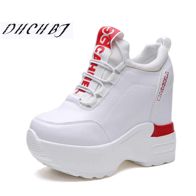 6938125a3e 2019 Summer Women High Platform Shoes Height Increasing Ladies Sneakers  Spring Trainers Pu Leather Shoes Breathable