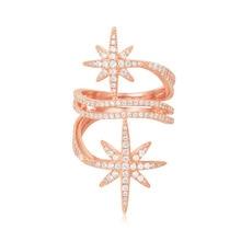SLJELY роскошные кольца на палец из стерлингового серебра 925 пробы розового золота с изящными звездами, циркониевые камни, женские изысканные брендовые ювелирные изделия
