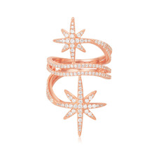 SLJELY Luxury 925 Sterling Silver Rose Gold Pink Color Fine Star Finger Rings Zirconia Stones Women Fine Brand Jewelry