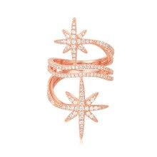 SLJELY Luxus 925 Sterling Silber Rose Gold Rosa Farbe Fein Sterne Finger Ringe Zirkonia Steine Frauen Fein Marke Schmuck