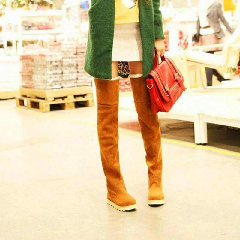 DAFENP SıCAK Satış Sahte Süet Kış Kar çizmeler kadın ayakkabıları kadın Diz Düz Uyluk Yüksek Çizmeler Pamuk Çizmeler botas mujer bota