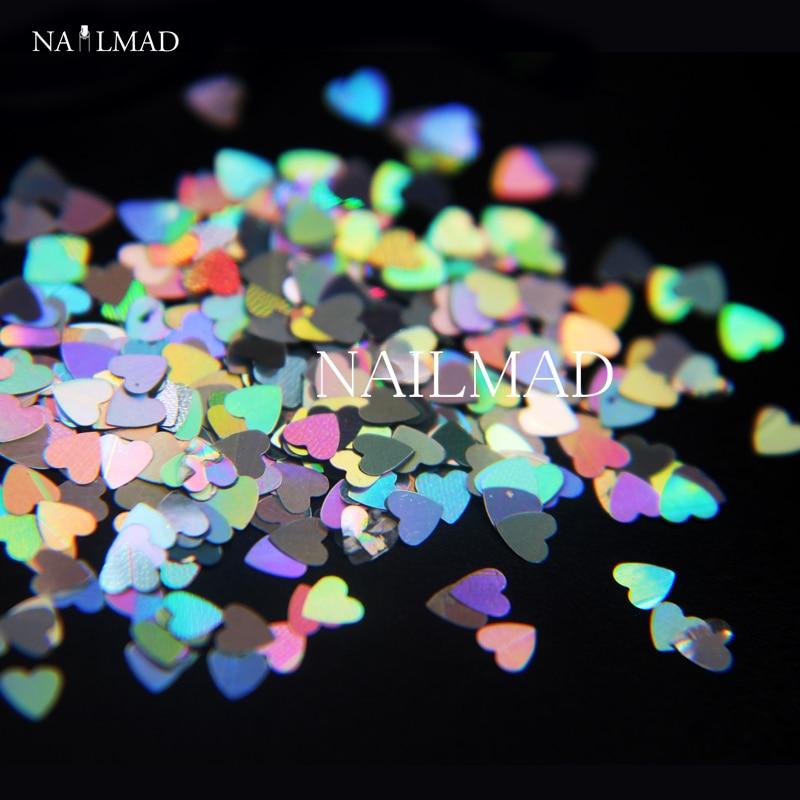 1box NailMAD lézeres körömlakk szív alakú köröm ragyog arany ezüst köröm csillogó szív Pailette 3mm