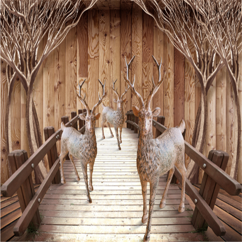 Vintage Wall Mural Wallpaper Custom Wooden Bridge and Elk Waterproof Embossed Non-Woven Bedroom Wall Paper Roll for Chicken image