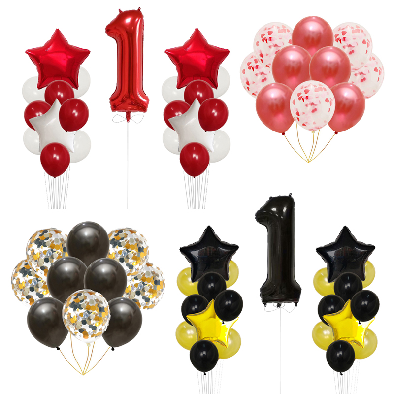 21pcs Baby Shower 1st Birthday Party Supplies Decor 40inch red black Number 1 Foil Balloon Boy Girl Balls 2.3g Latex Air Globos art