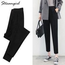Pantalones bombachos para mujer, pantalón Capri de talla grande, chifón de oficina, cintura elástica, para trabajo, cintura alta, color negro