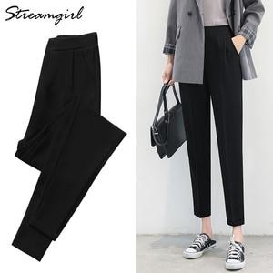 Image 1 - Women Harem Pants Summer Elastic Waist Plus Size Office Chiffon Capri Pencil Black Work Pants For Women High Waist Trousers Thin