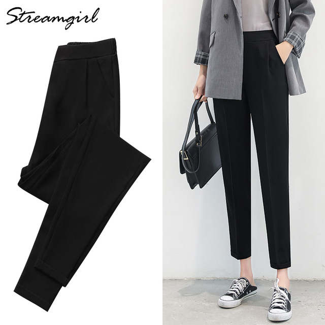 Women Harem Pants Summer Elastic Waist Plus Size Office Chiffon Capri Pencil Black Work Pants For Women High Waist Trousers Thin