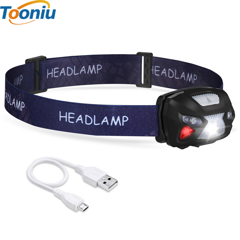 LED Body Motion Sensor Headlamp Rechargeable Headlamps USB CREE 5W 6 Modes Headlight Perfect for Fishing Walking Camping Reading
