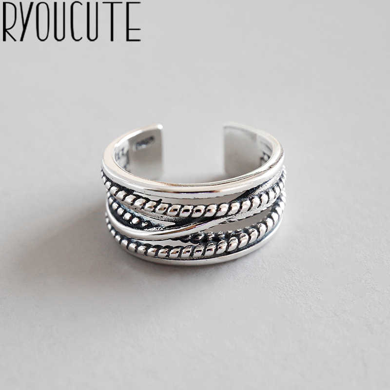 RYOUCUTE Real Pure 925 Sterling Silver Jewelry Vintage Layered Large Rings for Women Wedding Finger Open Ring Anillos Anelli