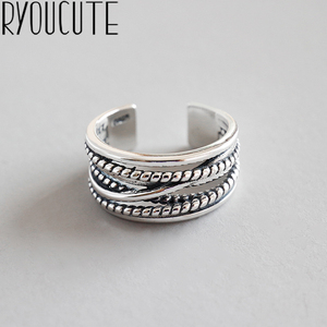 RYOUCUTE Real Pure Silver Color Jewelry Vintage Layered Large Rings for Women Wedding Finger Open Ring Anillos Anelli(China)