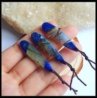 Sales 3Pcs Natural Stone Lapis Lazuli With Labradorite Teardrop Gemstone Fashion Pendants Accessories 7.3g